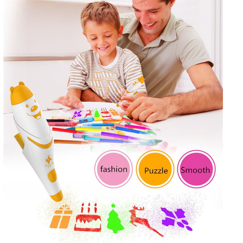 Watercolor Pen 12 Colors With Painting Templates Dust Free Cloth Battery Operated Toys