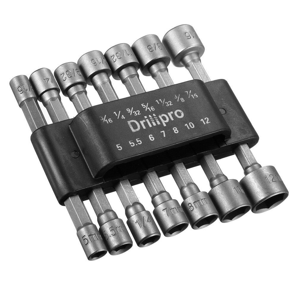 Drillpro 14pcs 1/4 Inch Hex Shank Power Nut Driver Drill Bit Set SAE Metric Socket Wrench Screw Screwdriver