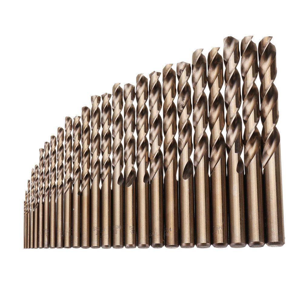 Drillpro 25pcs 1 13mm HSS M35 Cobalt Twist Drill Bit Set for Metal Wood Drilling