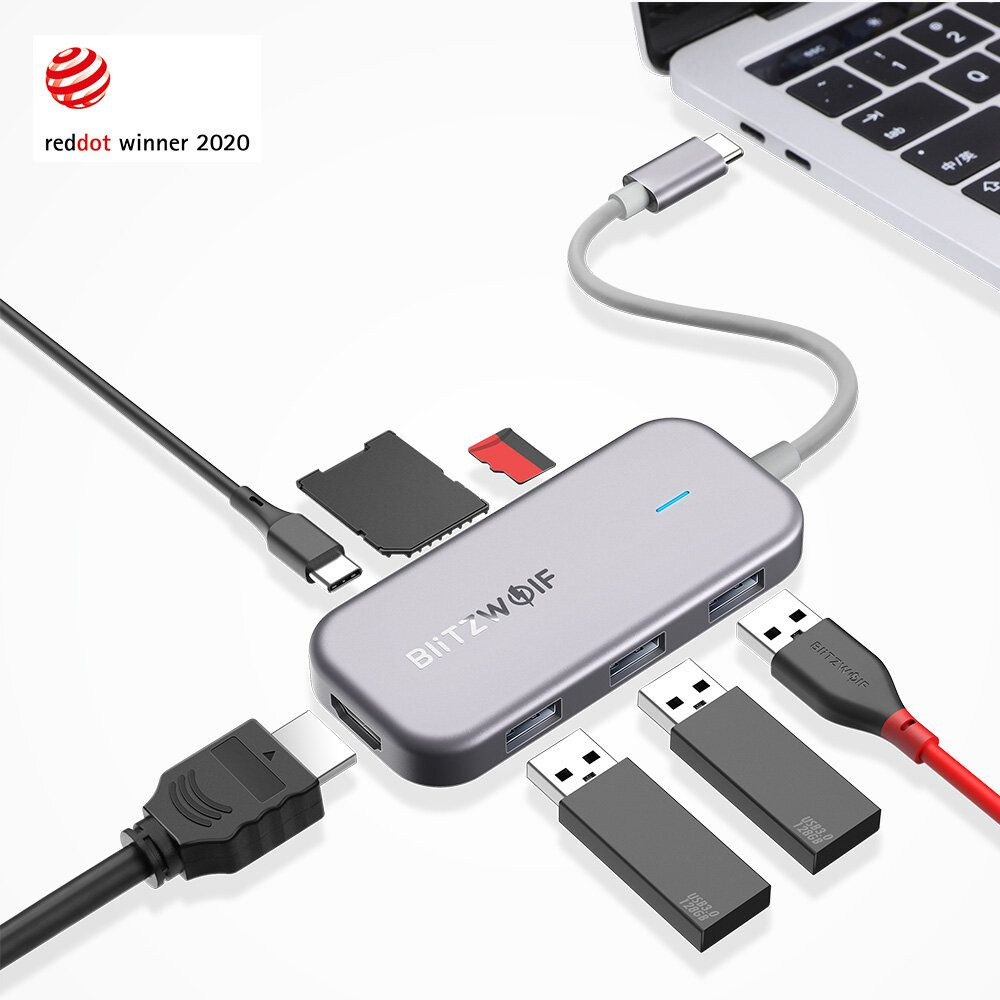 BlitzWolf® BW TH5 7 in 1 USB C Data Hub with 3 Port USB 3.0 TF Card Reader USB C PD Charging 4K Display USB Hub for MacBooks Notebooks Pros
