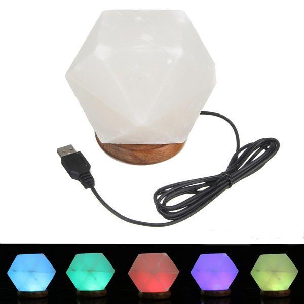 KXG US$33.52 Natural Crystal Rock USB Salt Lamp Colorful LED Night Light Decor