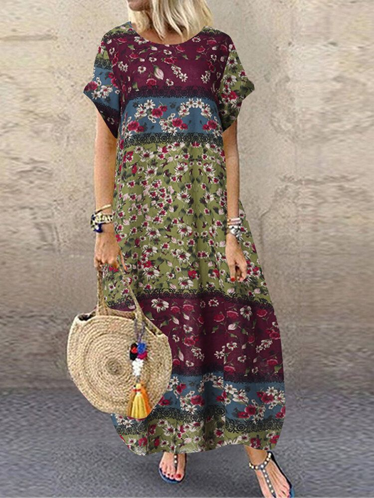 Women Casual Loose Cotton Floral Print Short Sleeve Dress