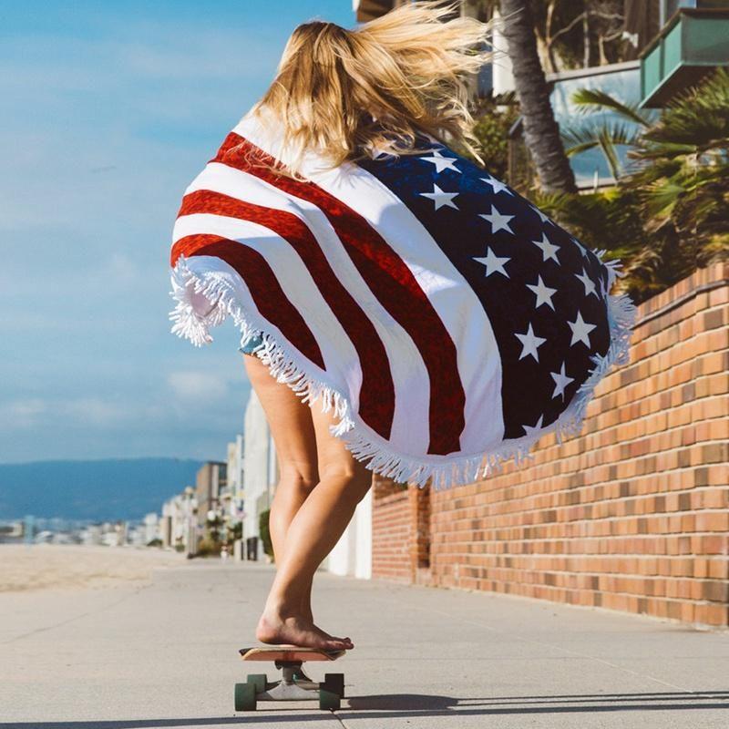 Honana WX 93 Bohemian Tapestry The American Flag Beach Towels Yoga Mat Camping Mattress Bikini Cover