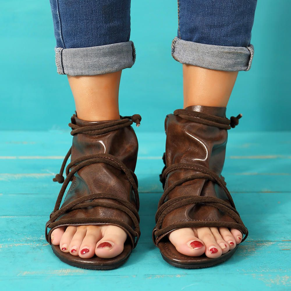 Large Size Vintage Open Toe Casual Zipper Flat Sandals
