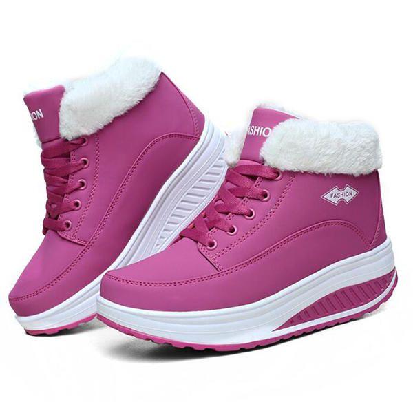 ZGA US$65.45 Warm Fur Lining Rocker Sole Platform Boots Women Casual Shoes