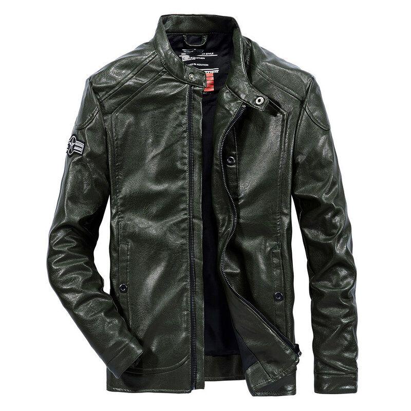 Mens Motorcycle Flaux Leather Solid Color Biker Jacket