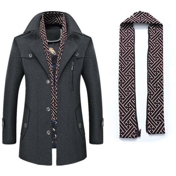Men's Thick Wool Detachable Scarf Trench Coat Casual Business Pea Coat Top Coats