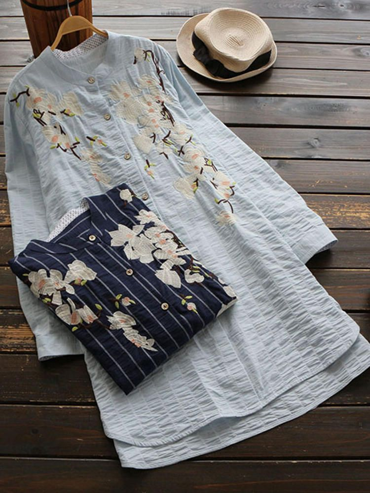 XVG US$38.99 Vintage Women Cotton Linen Floral Embroidered Stand Collar Long Sleeve Long ShirtS