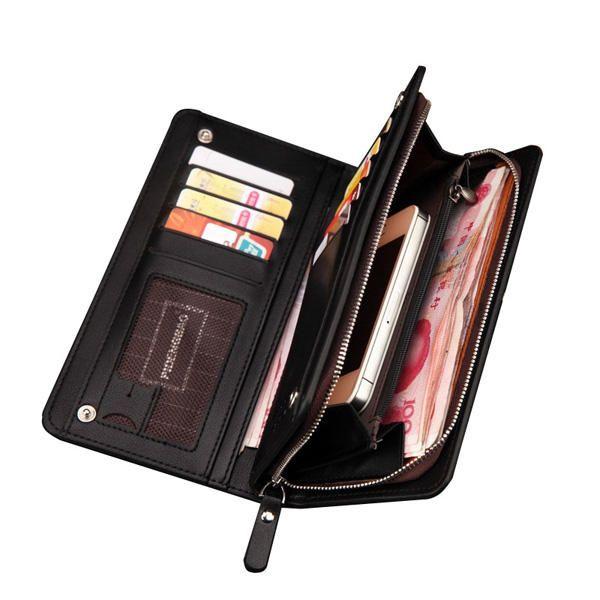 PIDENGBAO Men's PU Leather Long Zipper Purse Business Wallet Handbag