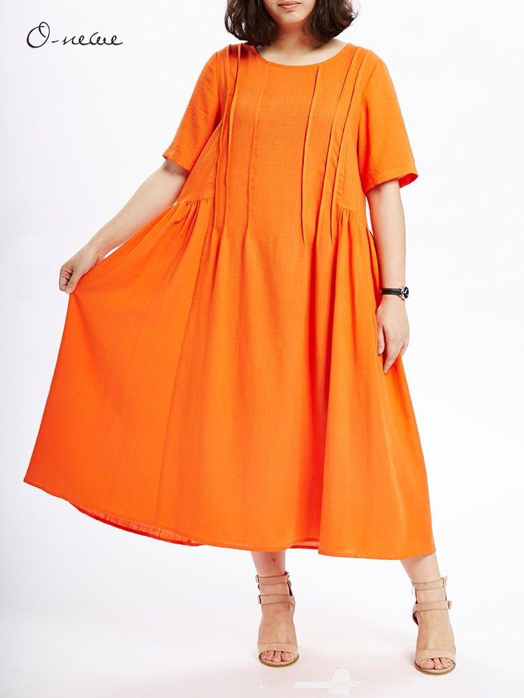 L 5XL Women Pleated Stitching Maxi Dress