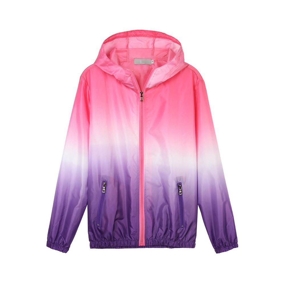 Casual Women Hooded Gradient Sport Sun Protection Coat