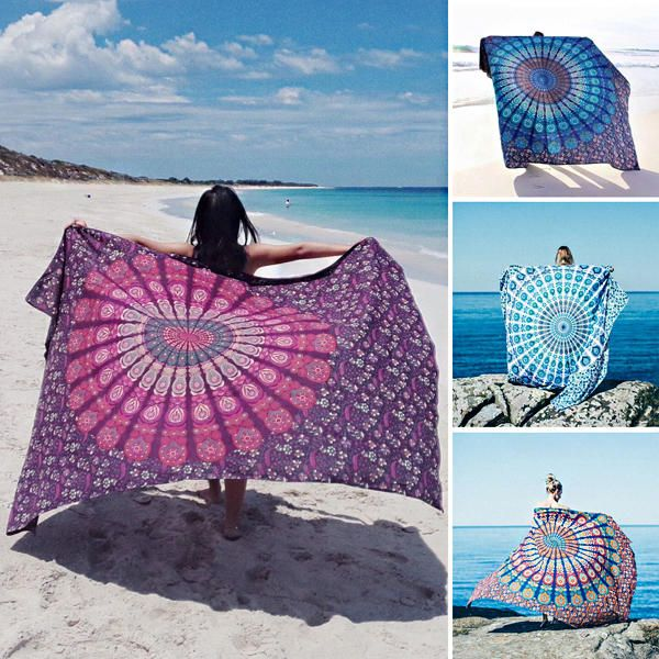 Honana WX 17 150x210cm Bohemian Style Polyester fiber Beach Shawl Mandala Rectangle Bed Sheet Tapestry