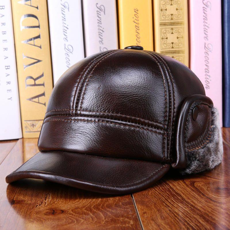 Winter Vintage Cowhide Genuine Leather Earmuffs Liner Hat