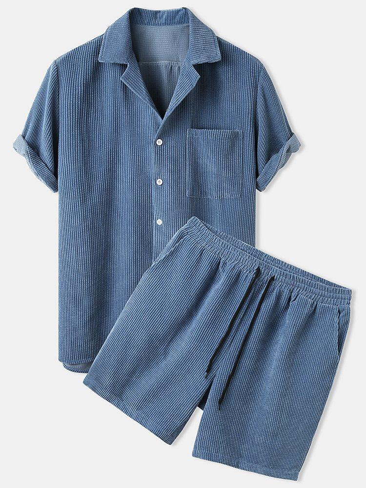 Banggood Designed Mens Light Corduroy Solid Color Patch Pocket Elastic Waist Breathable Shirt & Shorts