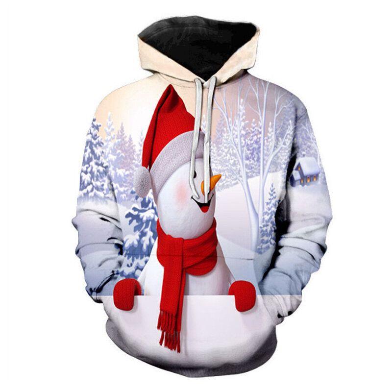 NGR US$30.53 Mens Fashion Christmas Long Sleeve Drawstring Hooded Cartoon Printing Casual Sweatshirt