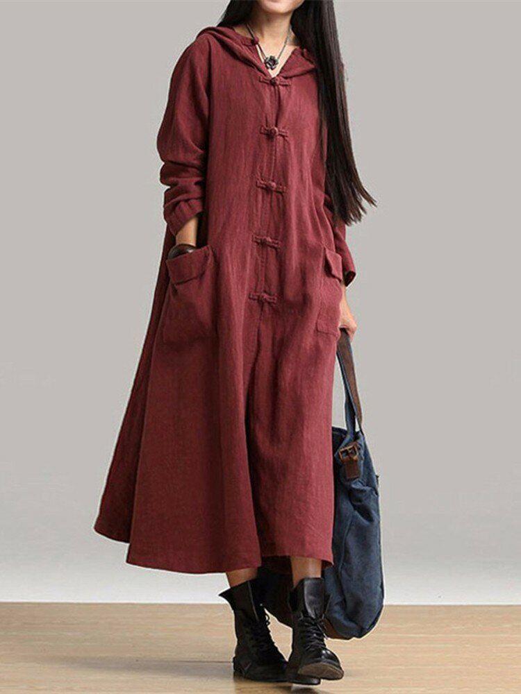 Vintage Women Plate Buckle Hooded Maxi Dress