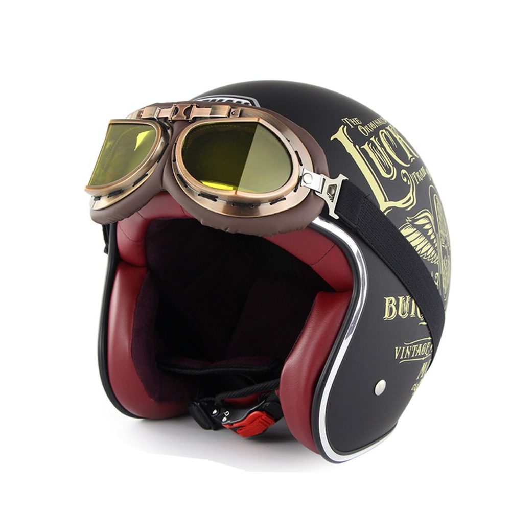 SOMAN Retro Full Face Helmet Safety Motorcycle Helmett Riding For Men And Women With Free Goggles