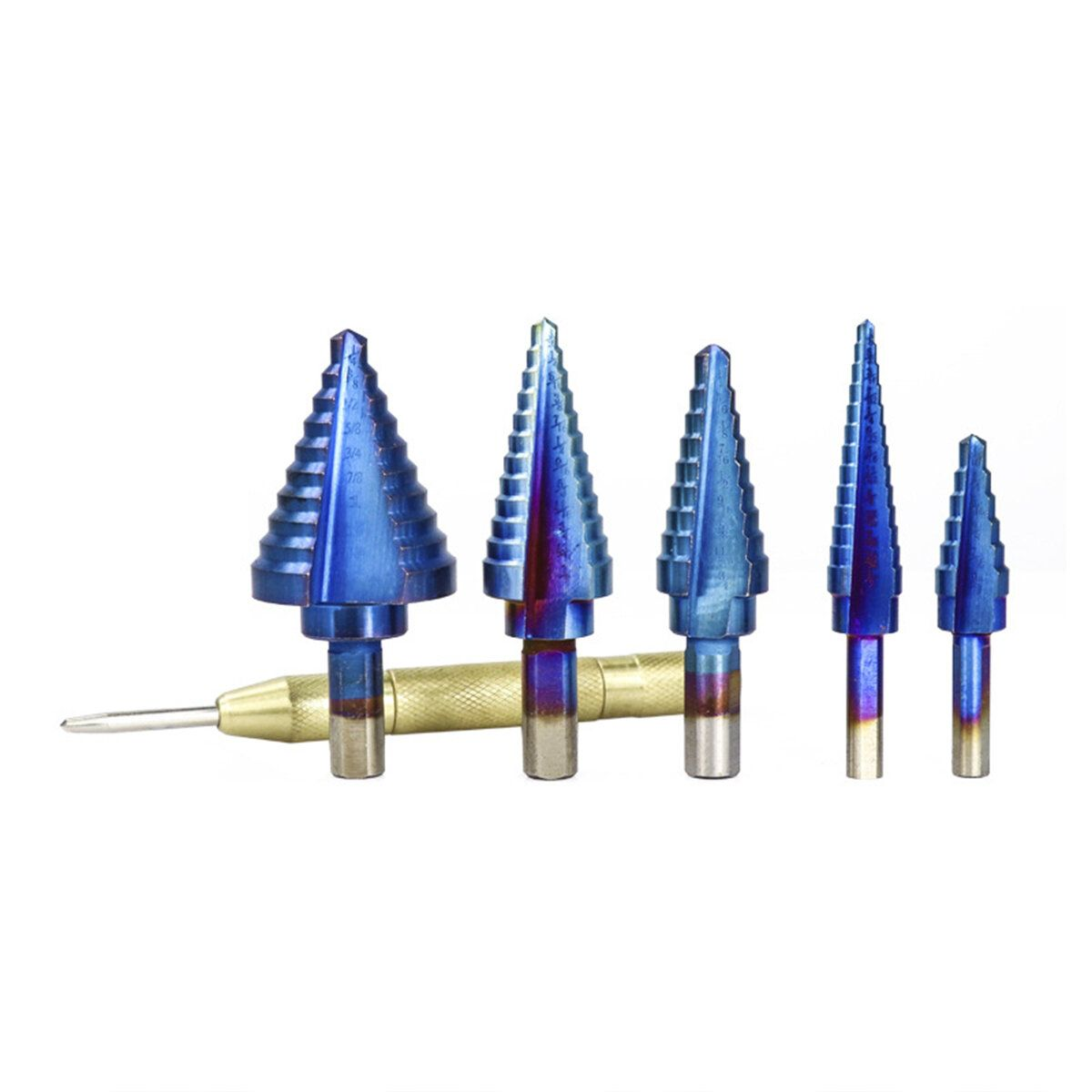 5pcs HSS Straight Flute Step Drill Bit Nano Blue Coated Wood Metal Hole Cutter with Center Punch