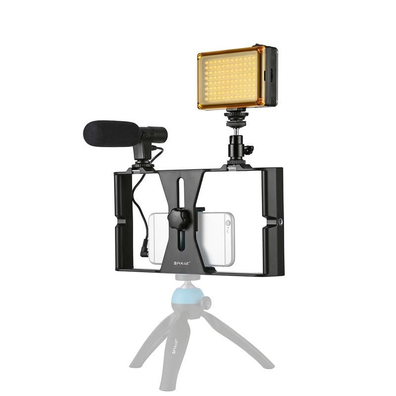 PULUZ PKT3022 Rig Stabilizer Holder with Video Light Microphone for Smart Phone Photography