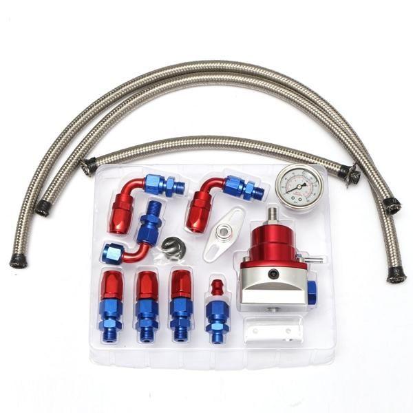 Universal Adjustable Fuel Lines Hose Fuel Pressure Regulator Oil Filled Gauge Fitting Kits Car