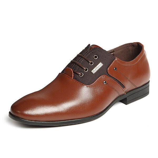SBQ US$63.33 Banggood Shoes Men Genuine Leather Elastic Farbic Business Formal Shoes