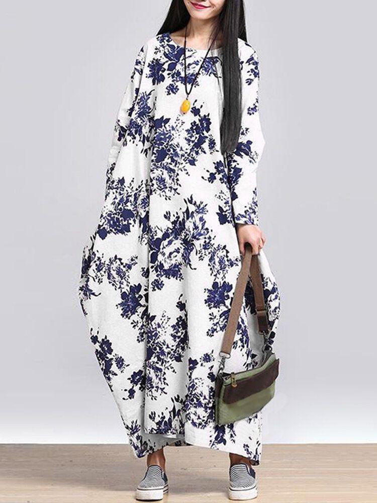L 5XL Casual Women Loose Floral Print Dress