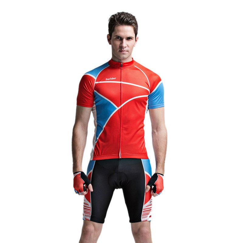 Forider Mens Sports Riding Cycling Jersey Summer Bicycle Short Sleeve Suit Polyester Fabic Shorts Quick Dry