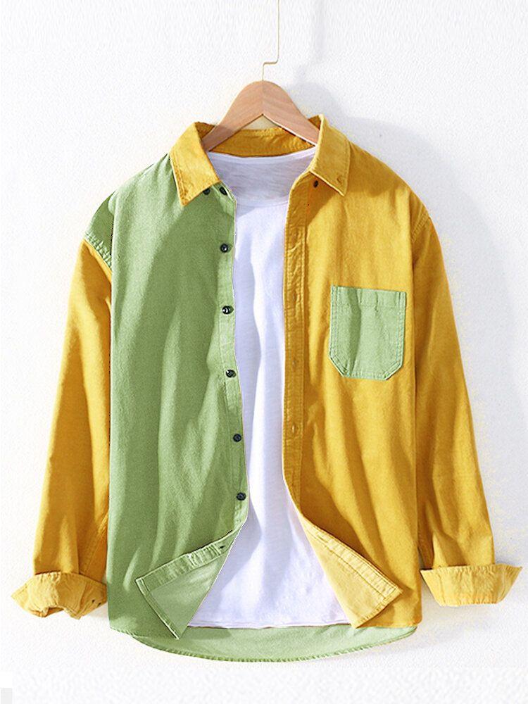Banggood Design Mens Corduroy Patchwork Colorblock Lapel Curved Hem Shirts With Pocket