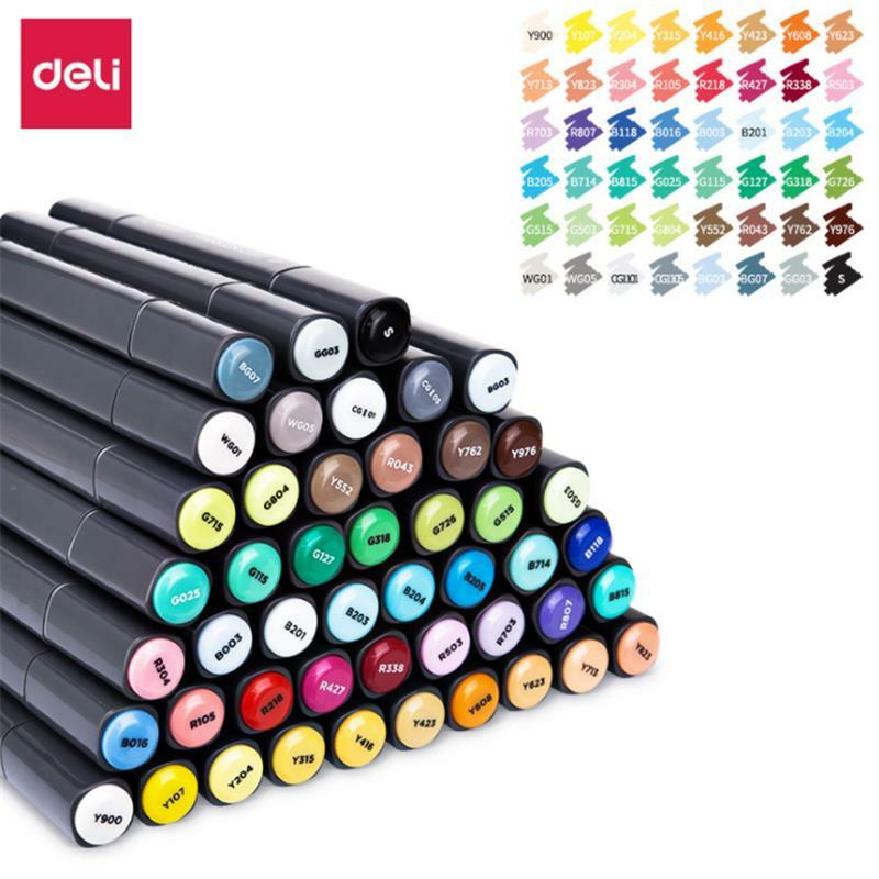 XIAOMI Ecosystem Deli 70701 1PCS 24/36/48/60 Color Marker Pens Set Double headed Marker Pen Hand painted Design Artist Marker Pens Gift for Kids Children