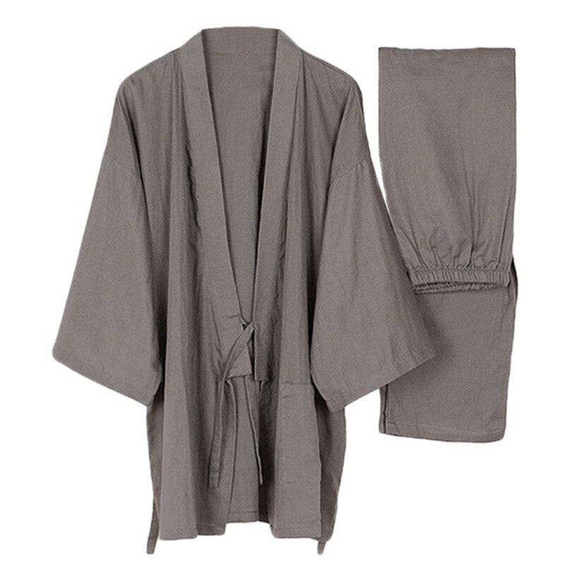 INCERUN Mens Japanese Style Kimono Cotton Pajamas Bathrobes Home Big Size Sleepwear Set