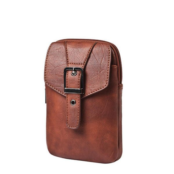 Man PU Waist Bag Running Crossbody Bag Hanging Neck Phone Clutch Bag