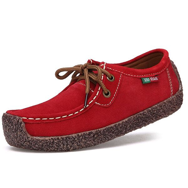 US Size 5 11 Women Suede Casual Outdoor Lace Up Comfy Flat Shoes