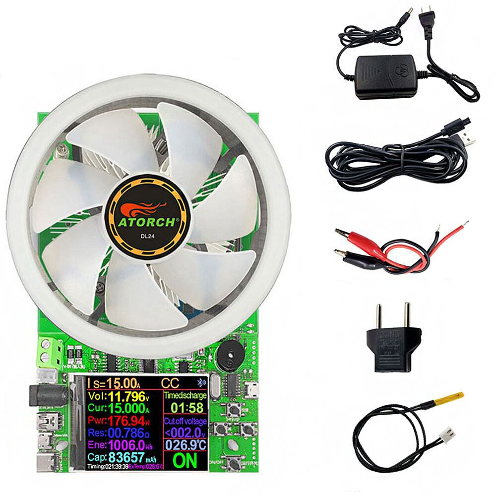 180W DL24 2.4 Inch DC USB Tester Electronic Load APP 18650 Battery Capacity Monitor Discharge Charge Power Meter Supply Checker with Color Display