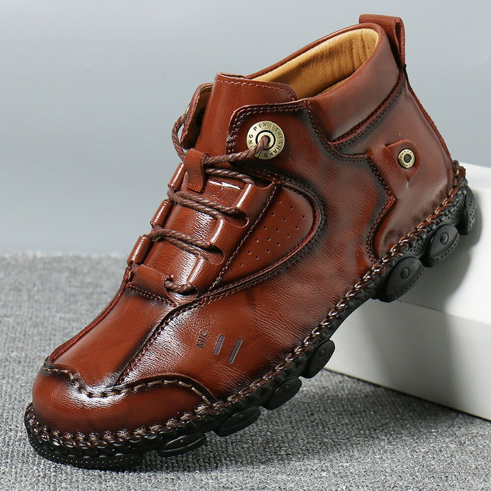 Menico Men Hand Stitching Comfy Slip Resistant Casual Leather Ankle Boots