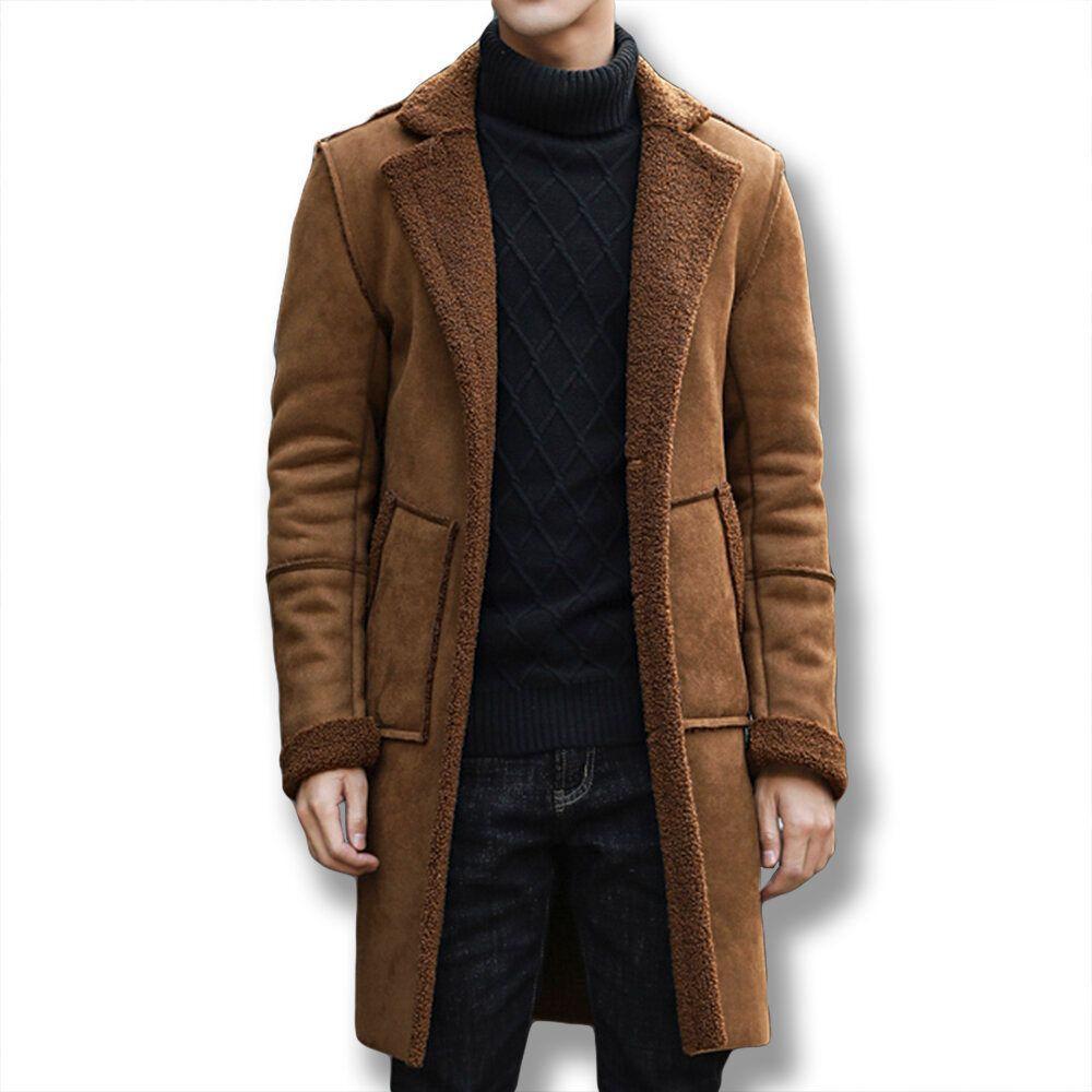 Mens Chic Suede Lamb Fur Coat Mid Long Fleece Warm Jacket
