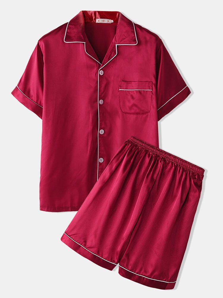 Men Two Piece Faux Silk Pajamas Set Plain Home Lapel Collar Loose Comfy Sleepwear Tops