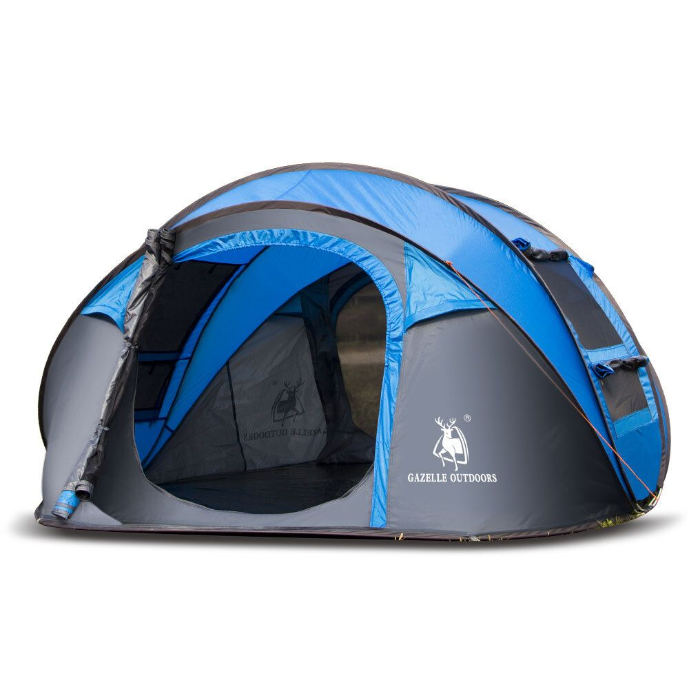 Outdoor 3 4 Persons Camping Tent Automatic Opening Single Layer Canopy Waterproof Anti UV Sunshade
