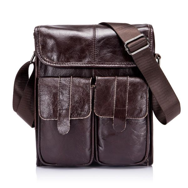 FWW US$78.76 Ekphero® Genuine Leather Men Bags Vintage Retro Messenger Bag