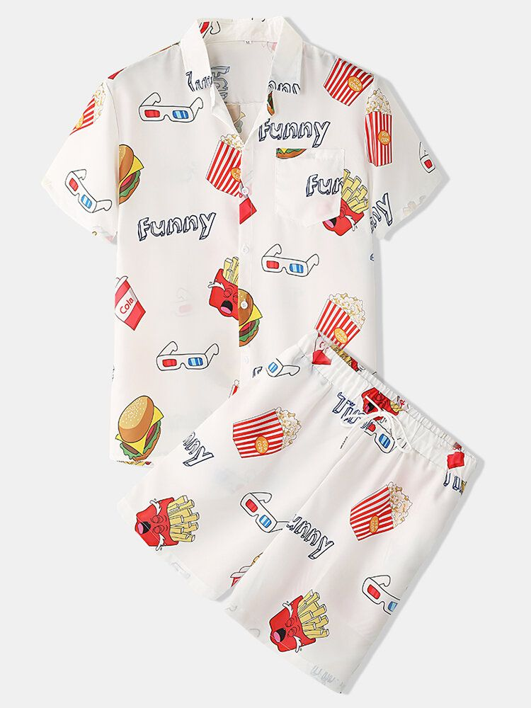 Mens Funny Fruit Hamburger Print Pajama Set Two Pieces Short Sleeve Summer Nightwear