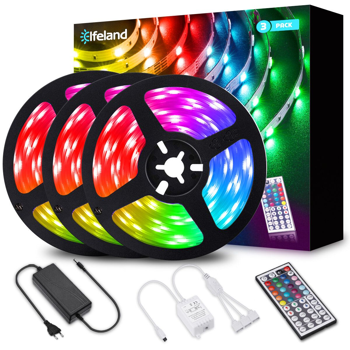 Elfeland 3*4M 5050 RGB LED Strip Light Non Waterproof + Controller + Remote Control + 12V 5A Power Supply