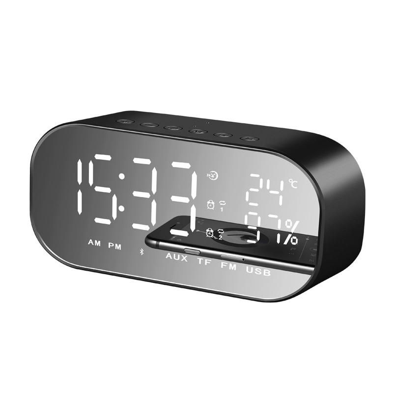 ADZ US$28.21 yAyusi S2 Dual Units Wireless bluetooth Speaker LED Display Mirror Alarm Clock FM Radio Subwoofer
