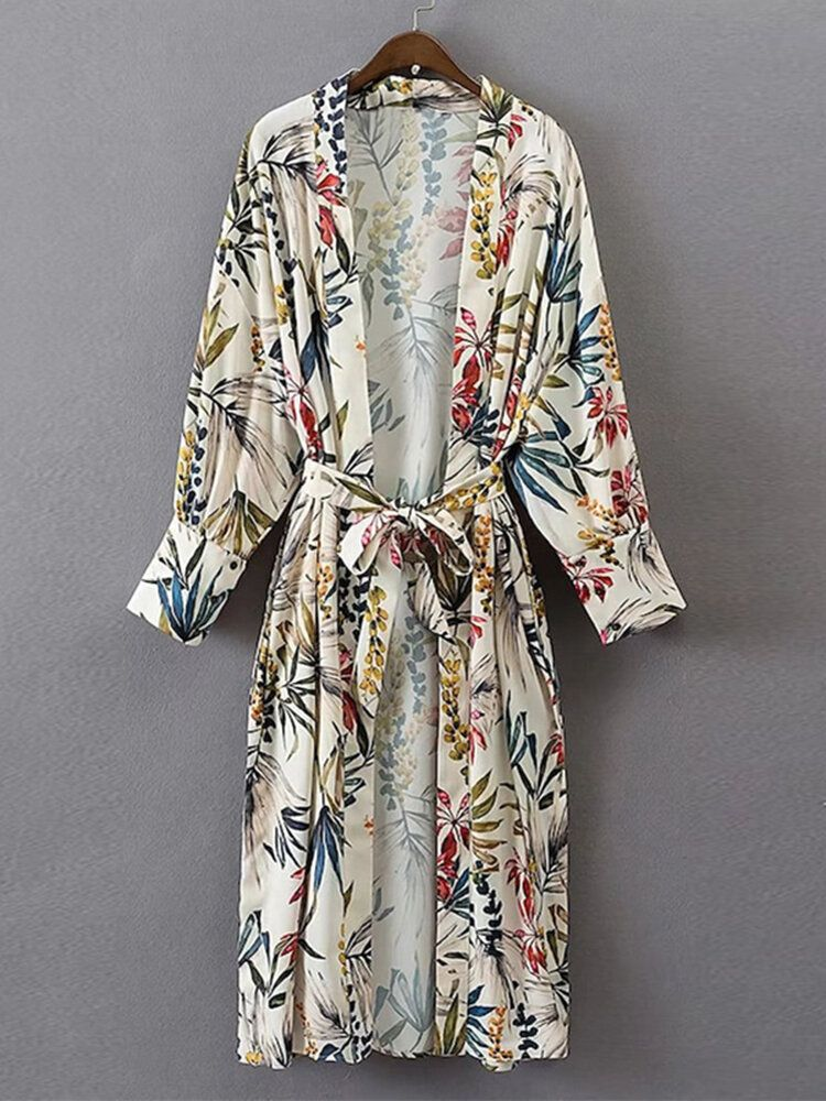 Plus Size Floral Print Long Sleeve Kimono Cardigan with Belt