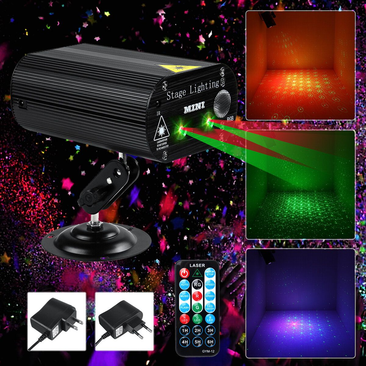 100W RGB Party Lights DJ Disco Strobe Lamp LED Laser Projector Sound Control