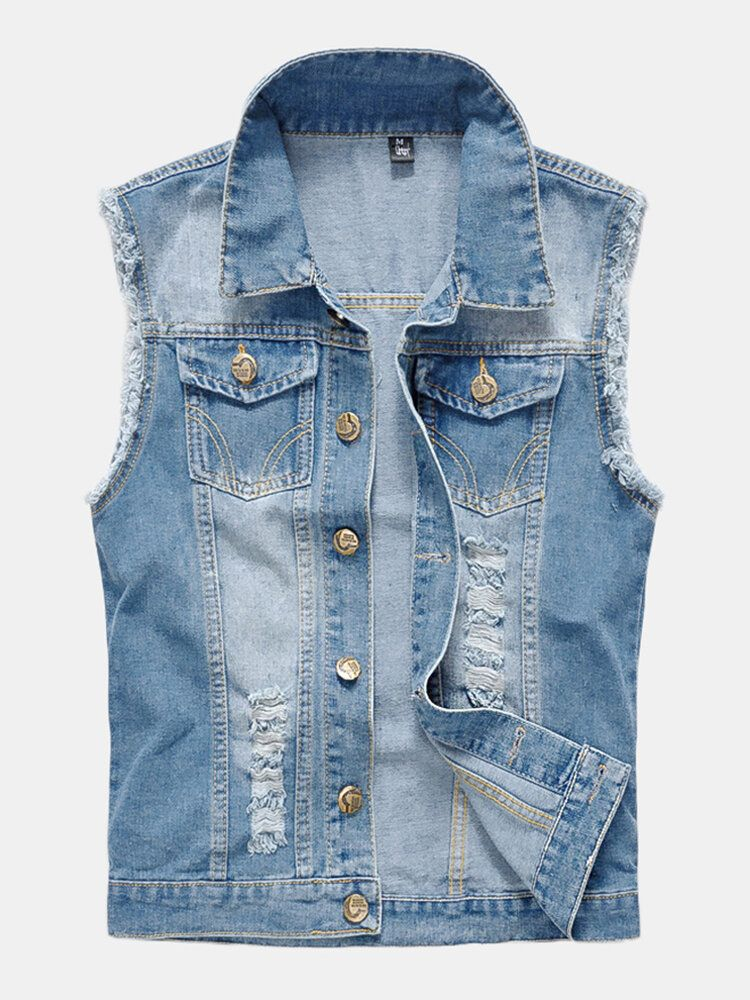 Mens Fashion Denim Double Pockets Turn Down Collar Casual Vest