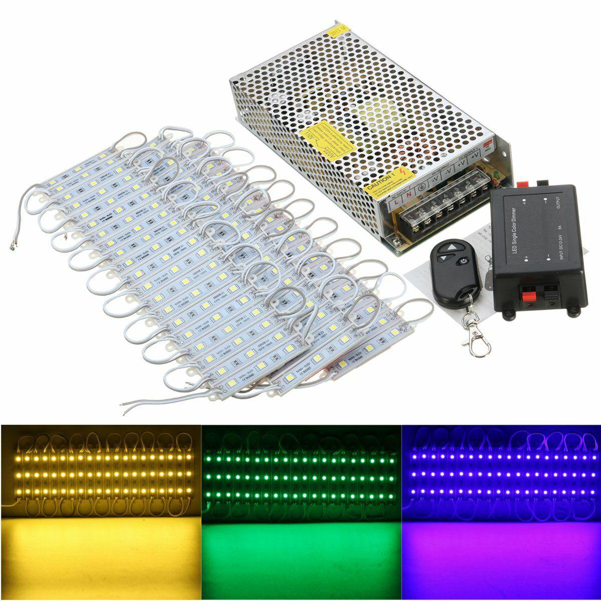 ZML US$38.12 60PCS 5 Colors SMD5050 LED Module Store Strip Light Front Window Lamp + Power Supply + Remote DC12V