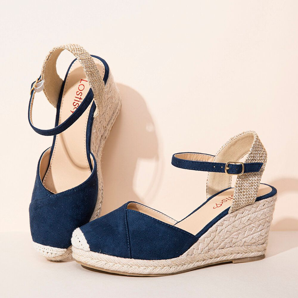 LOSTISY Women Espadrilles Elastic Band Ankle Strap Casual Summer Wedge Sandals