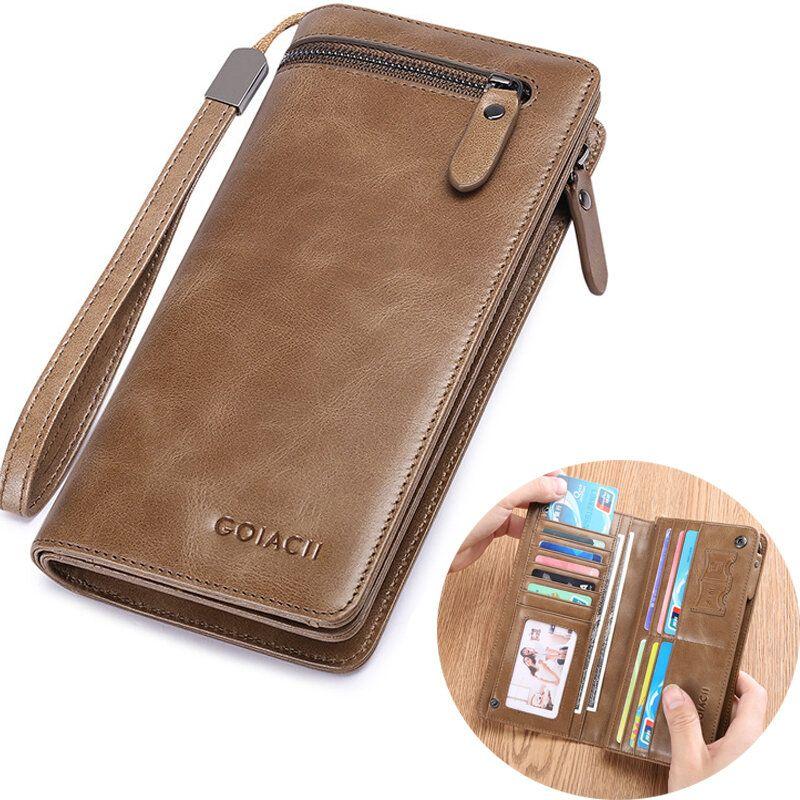 Men Multi functional Business Vintage Fashion Genuine Leather Long Wallet Clutch Bag
