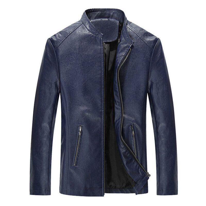 Mens Stand Collar Black Biker Jacket Spring Autumn Faux Leat