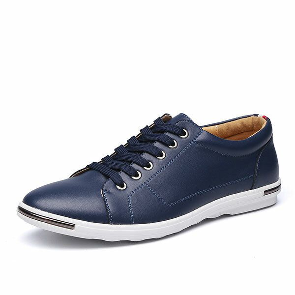 ELS US$47.44 Big Size Men Leather Casual Lace Up Athletic Shoes