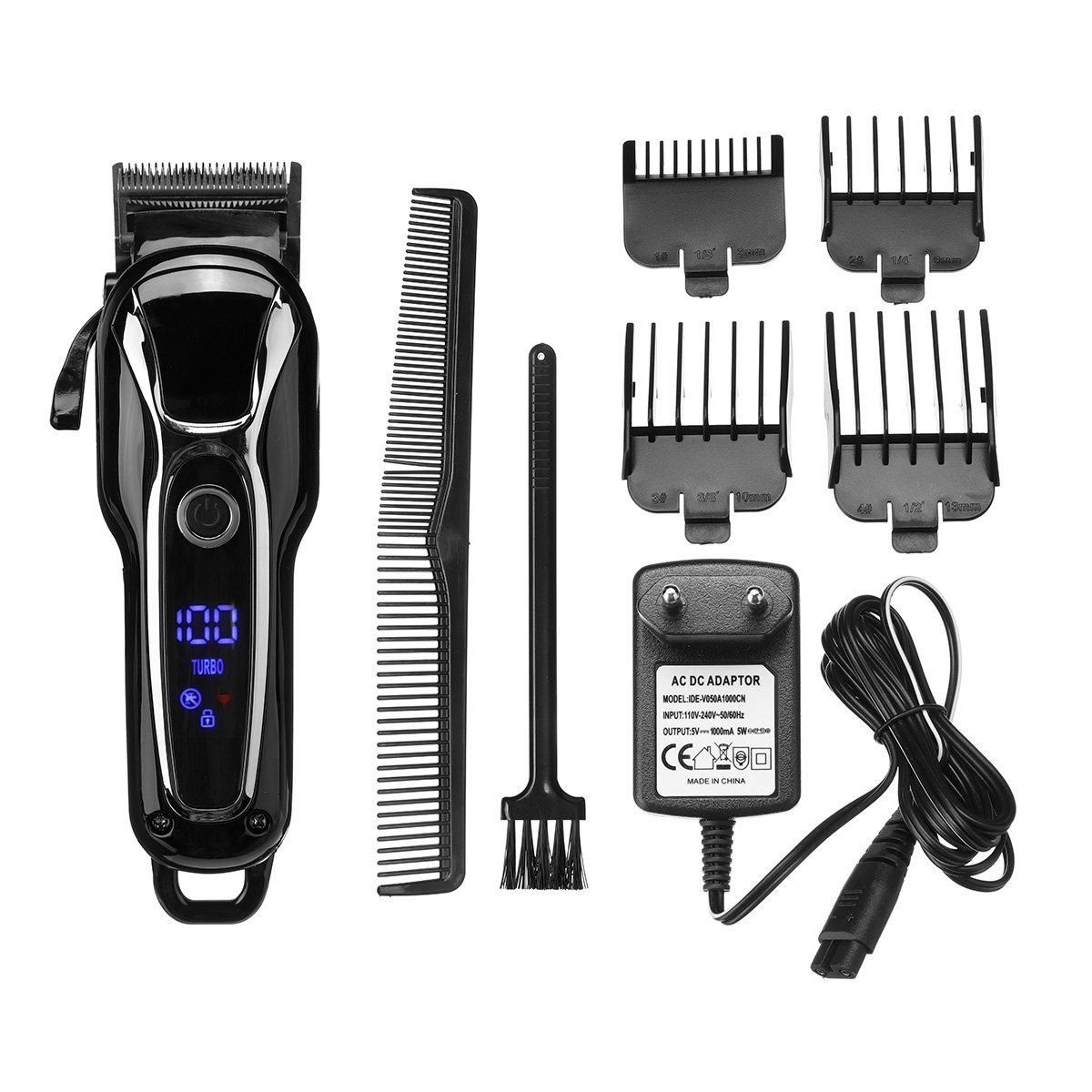 SURKER 4 Attachment Combs Ceramic Cutting Head Hair Clipper Men's Electric Cordless Hair Trimmer kit
